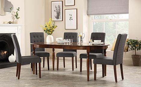 Albany Oval Dark Wood Extending Dining Table with 4 Regent Slate Chairs