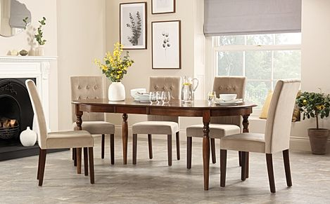 Albany Oval Dark Wood Extending Dining Table with 8 Regent Mink Velvet Chairs