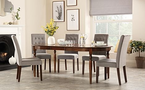 Albany Oval Dark Wood Extending Dining Table with 4 Regent Grey Velvet Chairs