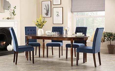 Albany Oval Dark Wood Extending Dining Table with 4 Regent Blue Velvet Chairs