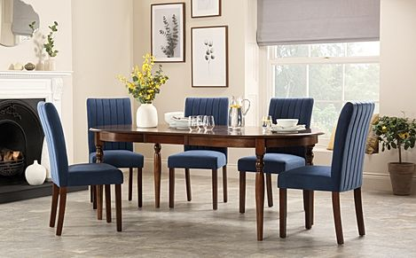 Albany Oval Dark Wood Extending Dining Table with 4 Salisbury Blue Velvet Chairs