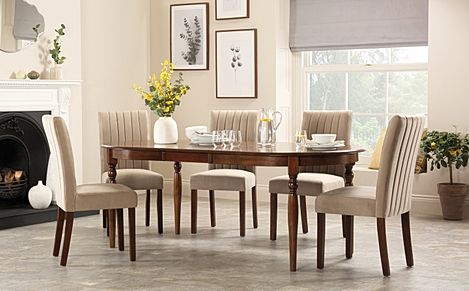 Albany Oval Dark Wood Extending Dining Table with 4 Salisbury Mink Velvet Chairs