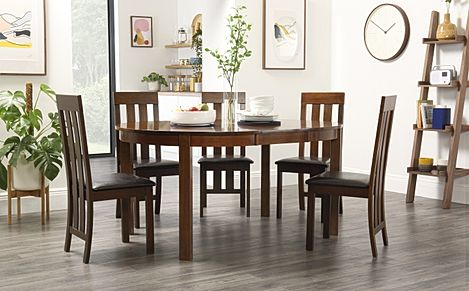 Marlborough Round Dark Wood Extending Dining Table with 4 Chester Chairs (Brown Leather Seat Pad)