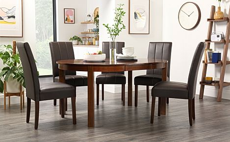 Marlborough Round Dark Wood Extending Dining Table with 6 Carrick Brown Chairs
