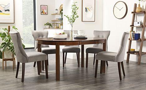 Marlborough Round Dark Wood Extending Dining Table with 4 Bewley Grey Velvet Chairs