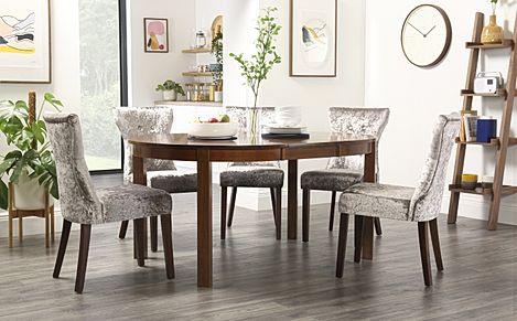 Marlborough Round Dark Wood Extending Dining Table with 4 Bewley Silver Velvet Chairs