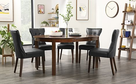 Marlborough Round Dark Wood Extending Dining Table with 6 Bewley Black Chairs