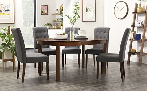 Marlborough Round Dark Wood Extending Dining Table with 6 Regent Slate Chairs
