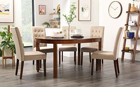 Marlborough Round Dark Wood Extending Dining Table with 4 Regent Mink Velvet Chairs