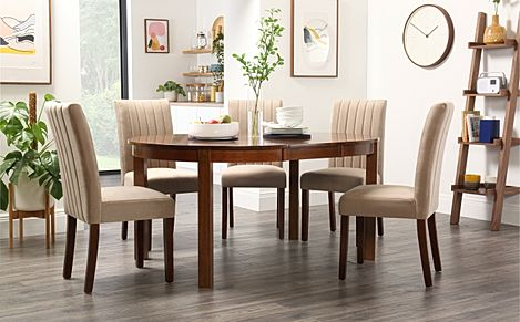 Marlborough Round Dark Wood Extending Dining Table with 4 Salisbury Mink Chairs