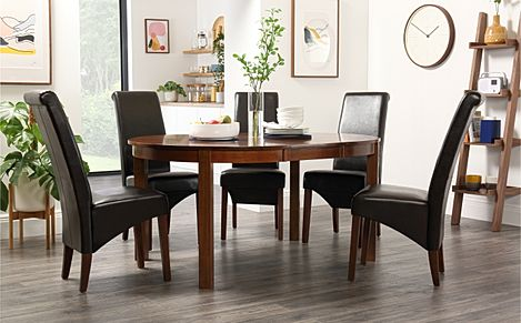 Marlborough Round Dark Wood Extending Dining Table with 4 Boston Brown Leather Chairs