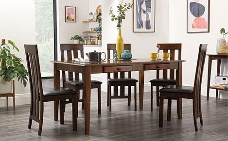 Wiltshire Dark Wood Dining Table with Storage with 6 Chester Chairs (Brown Leather Seat Pad)
