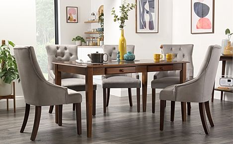 Wiltshire Dark Wood Dining Table with Storage with 4 Duke Grey Velvet Chairs