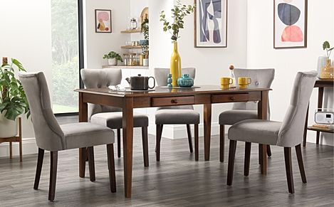 Wiltshire Dark Wood Dining Table with Storage with 4 Bewley Grey Velvet Chairs