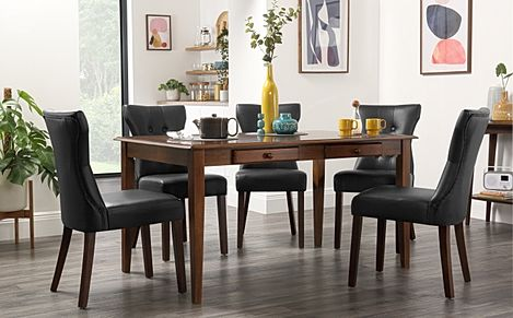Wiltshire Dark Wood Dining Table with Storage with 4 Bewley Black Chairs