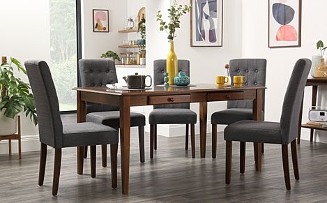 Wiltshire Dark Wood Dining Table with Storage with 6 Regent Slate Chairs