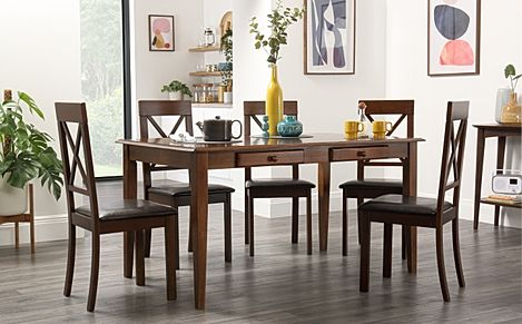 Wiltshire Dark Wood Dining Table with Storage with 6 Kendal Chairs