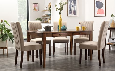 Wiltshire Dark Wood Dining Table with Storage with 4 Salisbury Mink Velvet Chairs