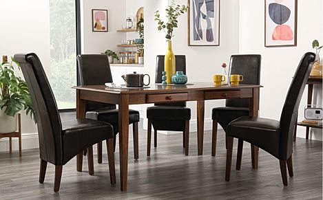 Wiltshire Dark Wood Dining Table with Storage with 4 Boston Brown Leather Chairs