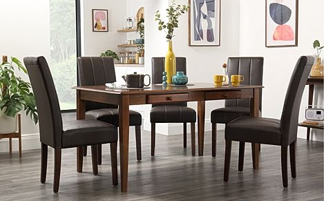 Wiltshire Dark Wood Dining Table with Storage with 4 Carrick Brown Chairs