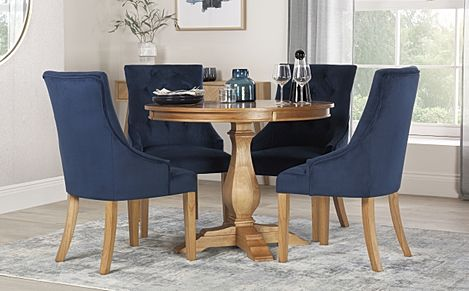 Cavendish Round Oak Dining Table with 4 Duke Blue Velvet Chairs