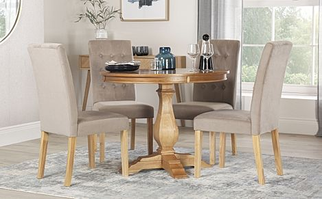 Cavendish Round Oak Dining Table with 4 Regent Mink Velvet Chairs