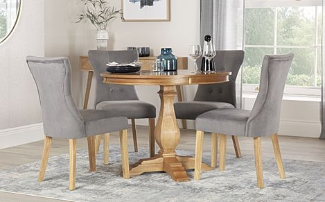 Cavendish Round Oak Dining Table with 4 Bewley Grey Velvet Chairs