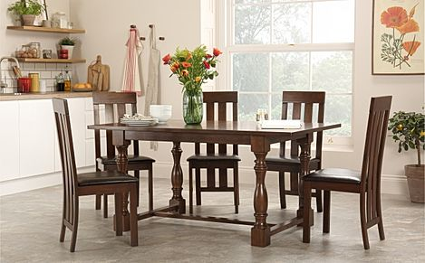 Devonshire Dark Wood Dining Table with 4 Chester Chairs (Brown Seat Pad)