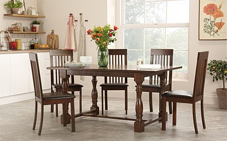 Devonshire Dark Wood Dining Table with 4 Oxford Chairs (Brown Seat Pad)