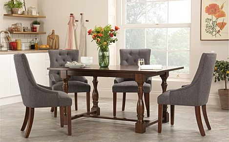 Devonshire Dark Wood Dining Table with 6 Duke Slate Chairs