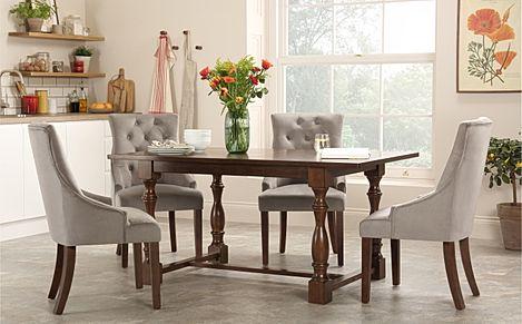 Devonshire Dark Wood Dining Table with 4 Duke Grey Velvet Chairs