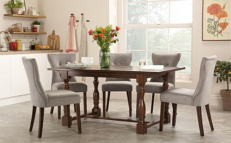 Devonshire Dark Wood Dining Table with 4 Bewley Grey Velvet Chairs
