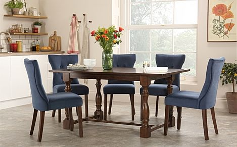 Devonshire Dark Wood Dining Table with 4 Bewley Blue Velvet Chairs