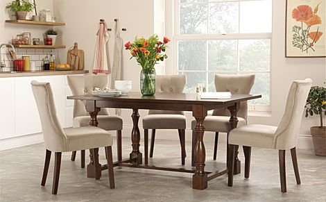 Devonshire Dark Wood Dining Table with 4 Bewley Mink Velvet Chairs