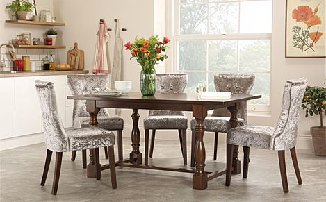Devonshire Dark Wood Dining Table with 6 Bewley Silver Velvet Chairs