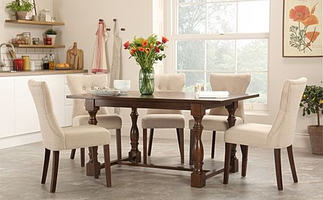 Devonshire Dark Wood Dining Table with 4 Bewley Oatmeal Chairs