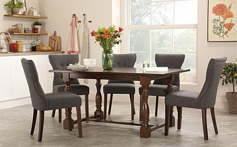 Devonshire Dark Wood Dining Table with 6 Bewley Slate Chairs