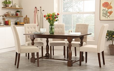 Devonshire Dark Wood Dining Table with 6 Regent Oatmeal Chairs