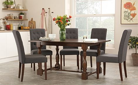 Devonshire Dark Wood Dining Table with 4 Regent Slate Chairs