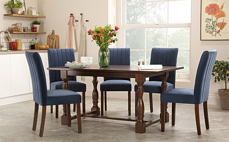 Devonshire Dark Wood Dining Table with 4 Salisbury Blue Chairs