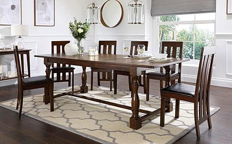Devonshire Dark Wood Extending Dining Table with 8 Chester Chairs (Brown Leather Seat Pad)