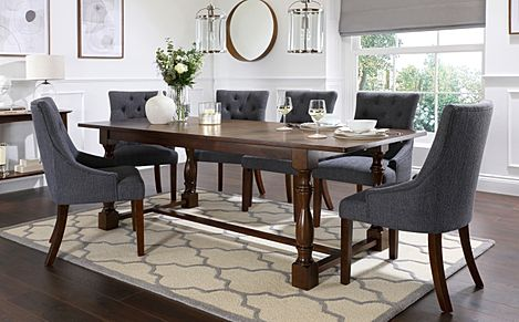 Devonshire Dark Wood Extending Dining Table with 8 Duke Slate Fabric Chairs