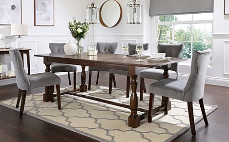 Devonshire Dark Wood Extending Dining Table with 4 Bewley Grey Velvet Chairs