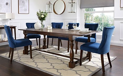 Devonshire Dark Wood Extending Dining Table with 8 Bewley Blue Velvet Chairs