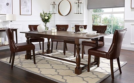 Devonshire Dark Wood Extending Dining Table with 4 Bewley Club Brown Leather Chairs