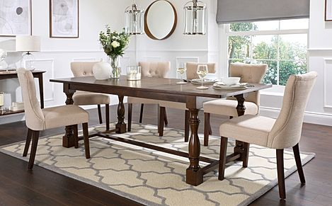 Devonshire Dark Wood Extending Dining Table with 4 Bewley Oatmeal Fabric Chairs
