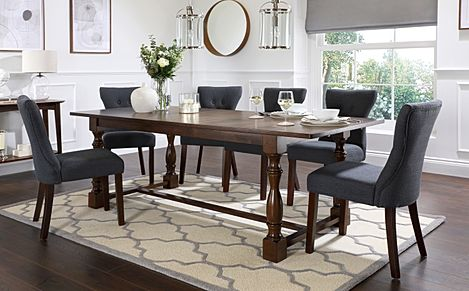 Devonshire Dark Wood Extending Dining Table with 8 Bewley Slate Fabric Chairs