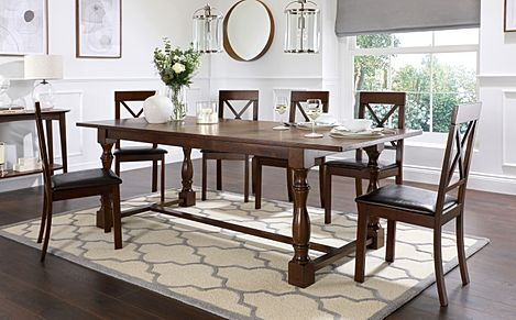 Devonshire Dark Wood Extending Dining Table with 6 Kendal Chairs (Brown Leather Seat Pads)