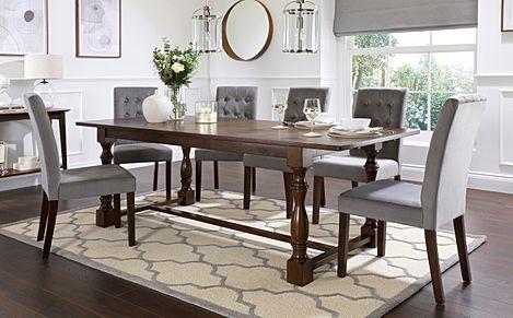 Devonshire Dark Wood Extending Dining Table with 4 Regent Grey Velvet Chairs