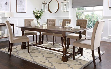 Devonshire Dark Wood Extending Dining Table with 4 Regent Mink Velvet Chairs